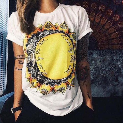 jaan-imports - Sun and Moon Printed White T-Shirt Casual Wear - Khoobsurat Gift Shop - T-Shirts