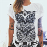 Trendy Summer Beach Printed  Owl White T-Shirt Women Tops Clothing Casual Wear