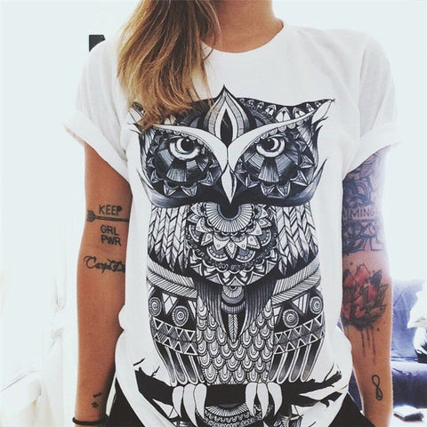 jaan-imports - Wise Owl White T-Shirt Casual Wear - Khoobsurat Gift Shop - T-Shirts
