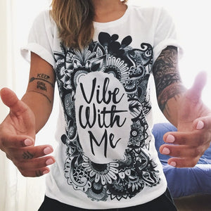 jaan-imports - Vibe With Me Mandala Print White T-Shirt Casual Wear - Khoobsurat Gift Shop - T-Shirts