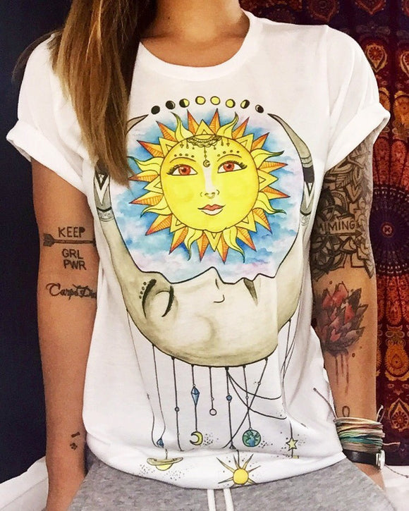 jaan-imports - Sun and Moon Dream Catcher Printed White T-Shirt Casual Wear - Khoobsurat Gift Shop - T-Shirts