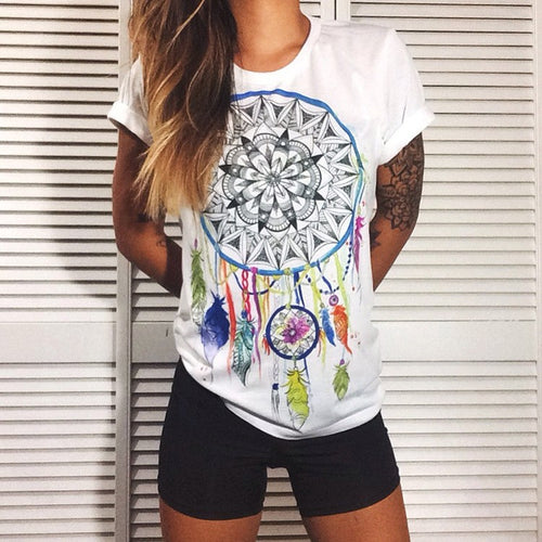 jaan-imports - Dream Catcher Printed White T-Shirt Casual Wear - Khoobsurat Gift Shop - T-Shirts