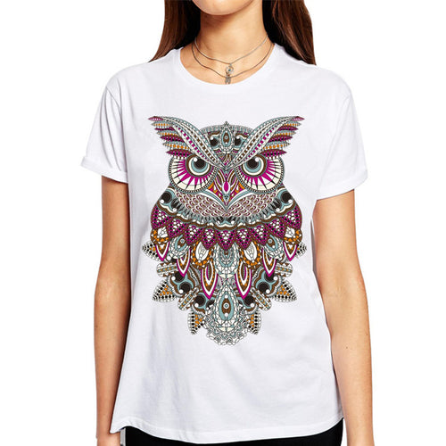 jaan-imports - Colorful Wise Owl Off-White T-Shirt Casual Wear - Khoobsurat Gift Shop - T-Shirts