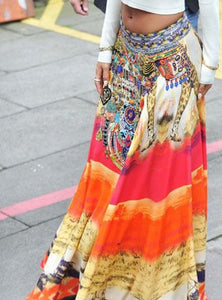 jaan-imports - Red Yellow Printed Skirt - Khoobsurat Gift Shop - Skirt