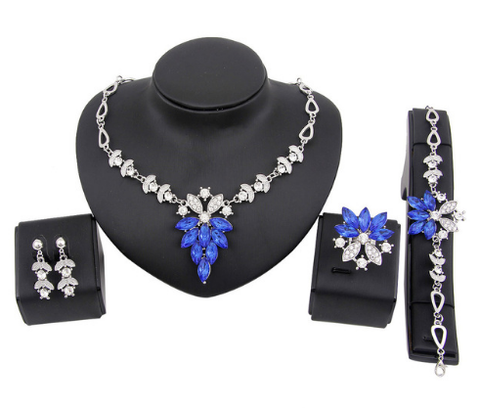 jaan-imports - Rhinestone Elegant 4 Piece Jewelry Set (2 colors) - Khoobsurat Gift Shop - Jewelry Set