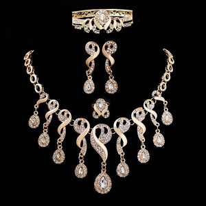 jaan-imports - Gold Teardrop Elegant 4 Piece Jewelry Set - Khoobsurat Gift Shop - Jewelry Set
