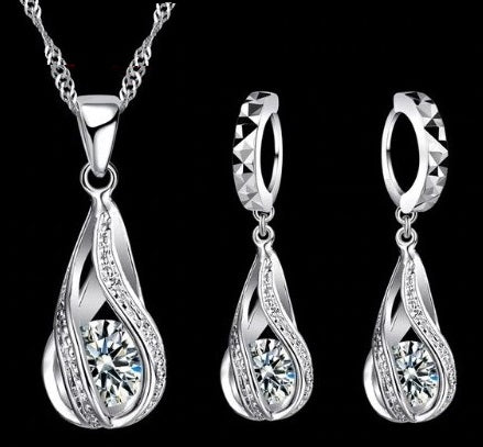 jaan-imports - Swirl Tear Drop Rhinestone Sterling Silver Earring and Necklace Jewelry Set - Khoobsurat Gift Shop - Jewelry Set