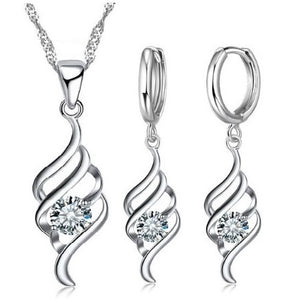 jaan-imports - Swirl Rhinestone Sterling Silver Earring and Necklace Jewelry Set - Khoobsurat Gift Shop - Jewelry Set