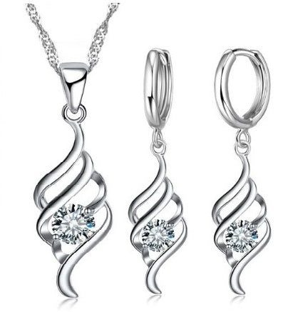 Sterling Silver Swirl Rhinestone Earring and Necklace Jewelry Set