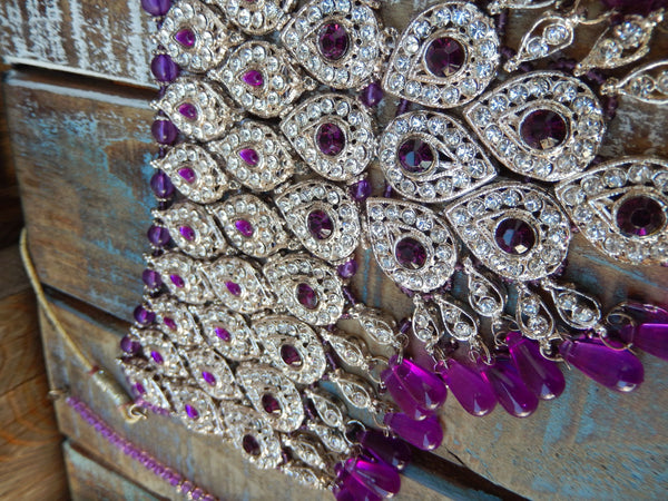jaan-imports - Purple 4 Piece Crystal Statement Kundan Bollywood Jewelry Set - Khoobsurat Gift Shop - Bollywood Jewelry Set