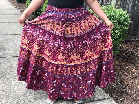 Skirt Elastic Mandala Print Traditional Indian Style