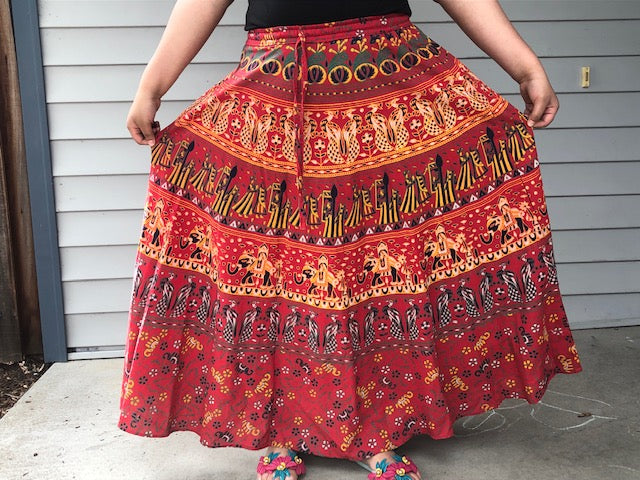 jaan-imports - Skirt Elastic Mandala Print Traditional Indian Style - Khoobsurat Gift Shop - Mandala Skirts
