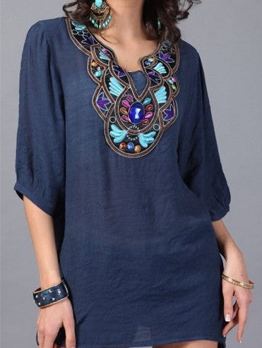 jaan-imports - Navy Embroidery Tunic Top - Khoobsurat Gift Shop - Tunic Tops
