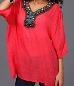 jaan-imports - Salmon Embroidery Tunic Top - Khoobsurat Gift Shop - Tunic Tops