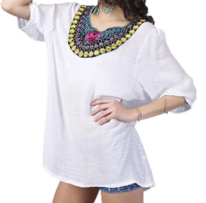 jaan-imports - White Embroidery Tunic Top One Size - Khoobsurat Gift Shop - Tunic Tops