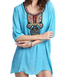 jaan-imports - Turquoise Embroidery Tunic Top - Khoobsurat Gift Shop - Tunic Tops