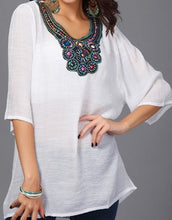 Load image into Gallery viewer, jaan-imports - White Embroidery Tunic Top - Khoobsurat Gift Shop - Tunic Tops