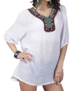 jaan-imports - White Embroidery Tunic Top - Khoobsurat Gift Shop - Tunic Tops
