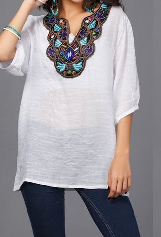 jaan-imports - Handmade Embroidery Tunic Top One Size Trendy Casual Summer Fashion - Khoobsurat Gift Shop - Tunic Tops