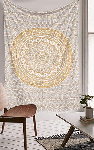 jaan-imports - Gold Mandala Twin Tapestry - Khoobsurat Gift Shop - Twin Tapestry