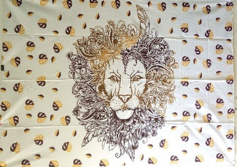 jaan-imports - Brown Lion Twin Tapestry - Khoobsurat Gift Shop - Twin Tapestry