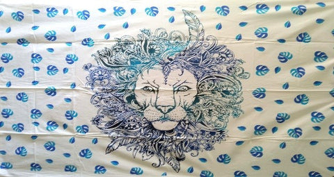 jaan-imports - Blue Lion Twin Tapestry - Khoobsurat Gift Shop - Twin Tapestry