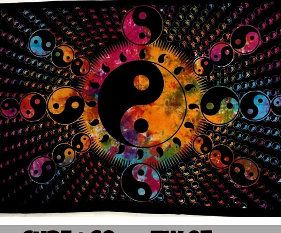 jaan-imports - Tie Dye Colorful Yin Yang Twin Tapestry - Khoobsurat Gift Shop - Twin Tapestry