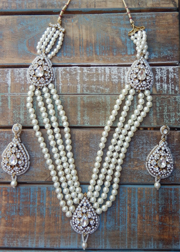 jaan-imports - Pearl 3 Piece Crystal Statement Kundan Bollywood Jewelry Set - Khoobsurat Gift Shop - Bollywood Jewelry Set
