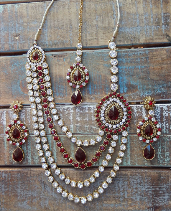 jaan-imports - Maroon 4 Piece Crystal Statement Kundan Bollywood Jewelry Set - Khoobsurat Gift Shop - Bollywood Jewelry Set