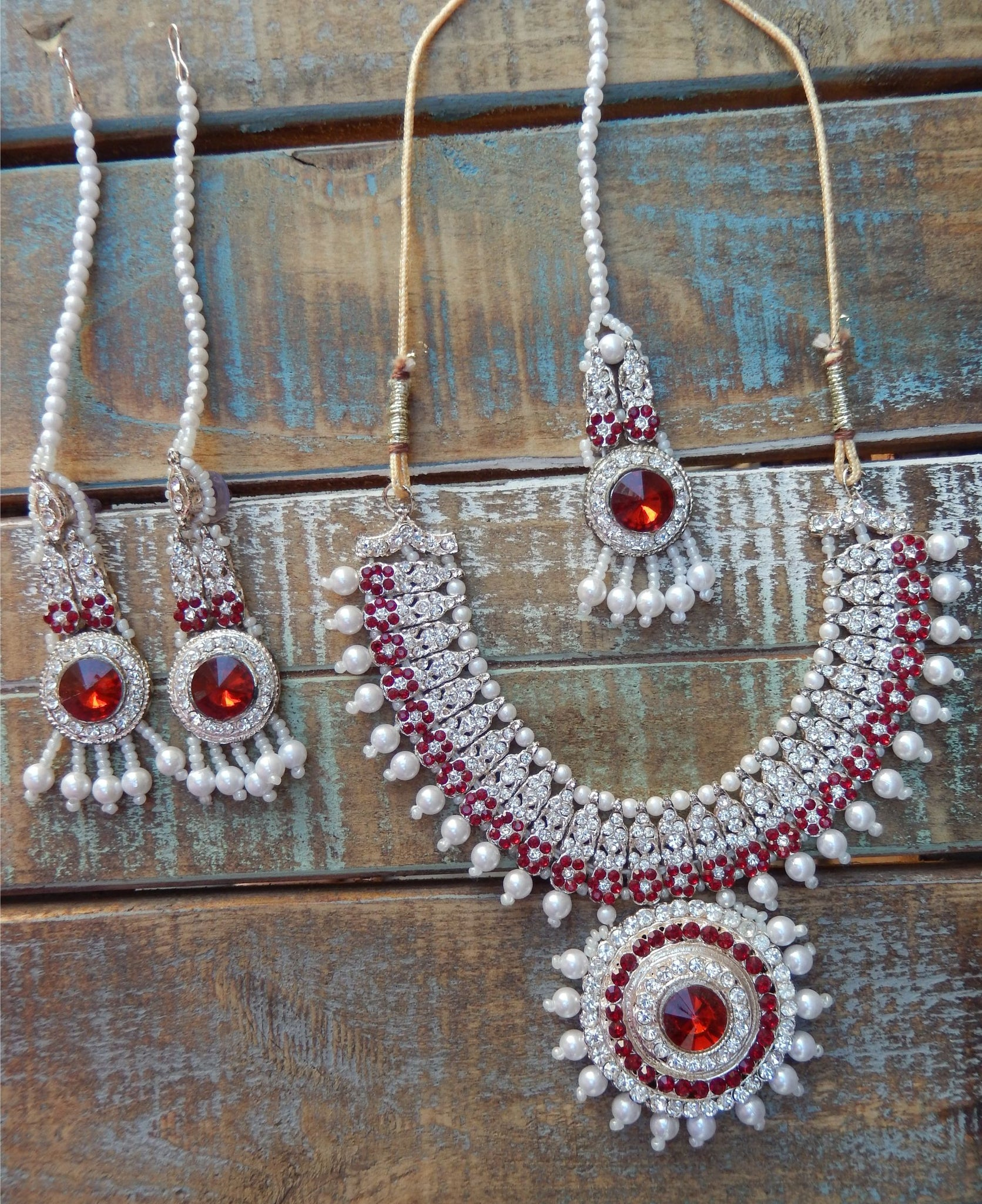 jaan-imports - Red 4 Piece Crystal Statement Kundan Bollywood Jewelry Set - Khoobsurat Gift Shop - Bollywood Jewelry Set