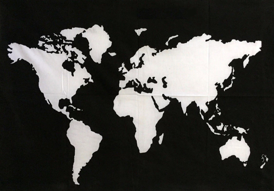 jaan-imports - World Map with border lines Black and White Twin Tapestry - Khoobsurat Gift Shop - Twin Tapestry