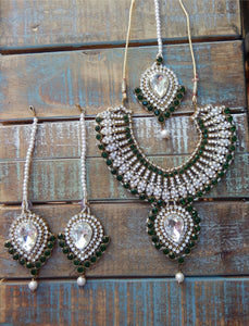 jaan-imports - Forrest Green 4 Piece Crystal Statement Kundan Bollywood Jewelry Set - Khoobsurat Gift Shop - Bollywood Jewelry Set