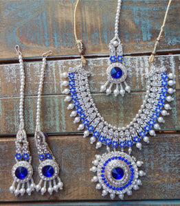 jaan-imports - Blue  4 Piece Crystal Statement Kundan Bollywood Jewelry Set - Khoobsurat Gift Shop - Bollywood Jewelry Set