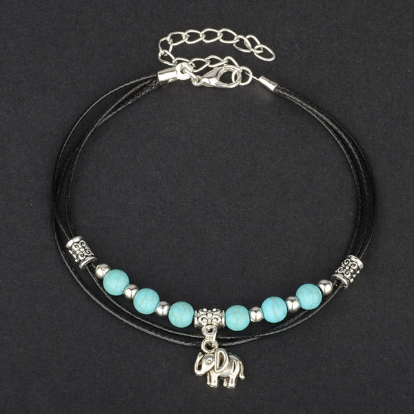 jaan-imports - Elephant Beaded Anklet - Khoobsurat Gift Shop - Anklet