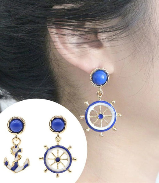 jaan-imports - Anchor and Wheel Cute Sailor Casual Earrings - Khoobsurat Gift Shop - Earrings