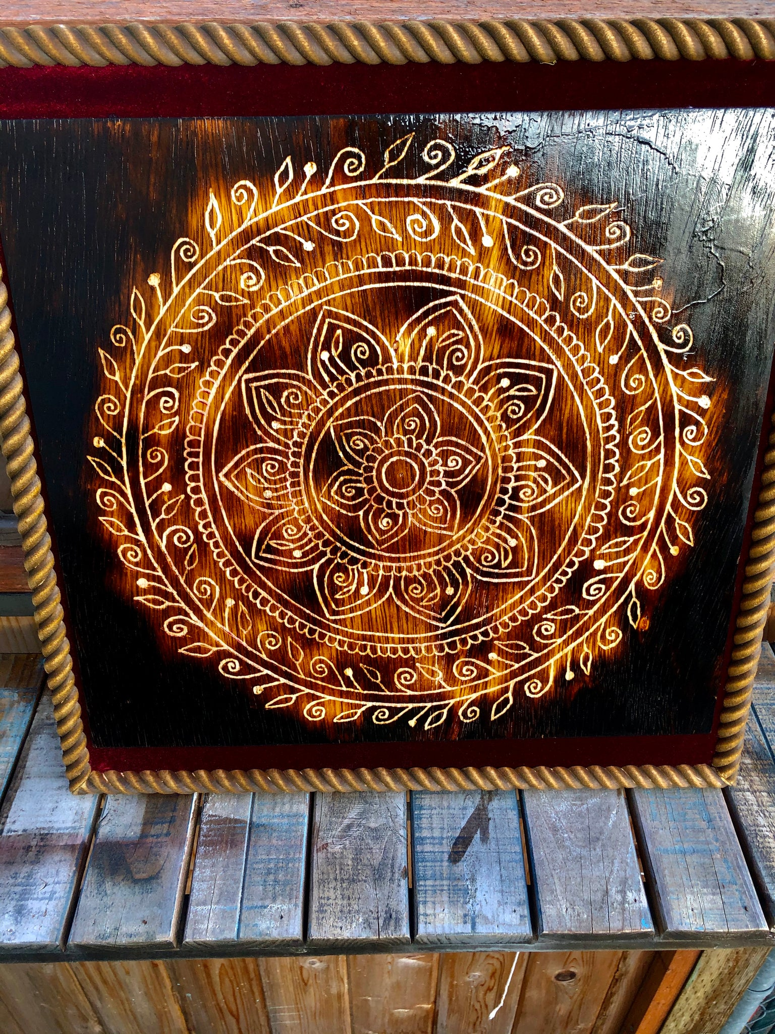 Scorched Beauty- Carved Mandala Framed Art Wall Hanging Home Decor