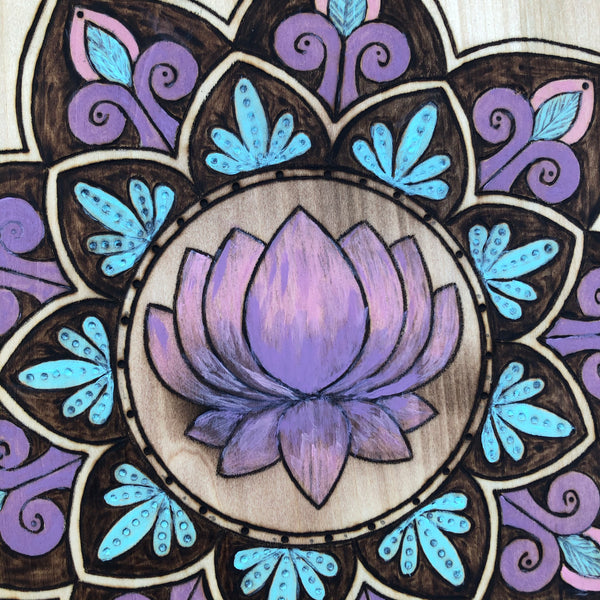 New Beginnings, New Hopes Lotus Flower Inside Intricate Mandala Pyrography Wood Burning Art