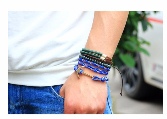 jaan-imports - Set of 3 Anchor Beaded Rope and Leather Bracelet - Khoobsurat Gift Shop - Bracelet