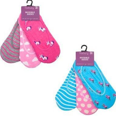 LADIES 6 PACK INVISIBLE SOCKS MULTI