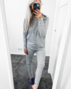 LADIES KNITED HOODIE LOUNGE SET GREY
