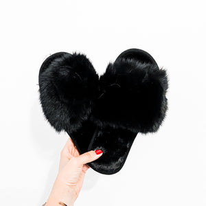 Ladies Fluffy Slipper Mule Black