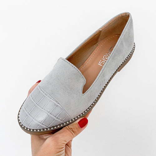 LADIES CROC TOE SLIP ON SHOES GREY