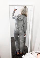 Load image into Gallery viewer, LADIES KNITED HOODIE LOUNGE SET GREY