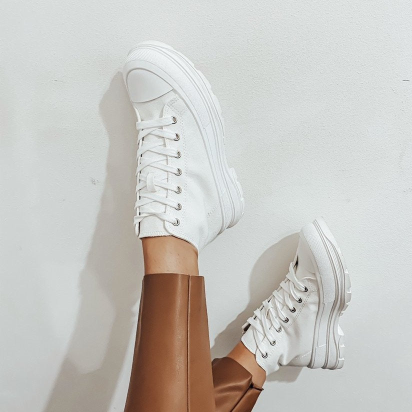CHUNKY CANVAS HI TOP TRAINERS WHITE