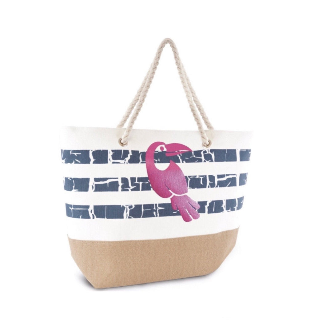 LADIES BIRD STRIPE BEACH BAG