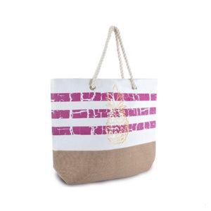 LADIES TROPICAL STRIPE BEACH BAG