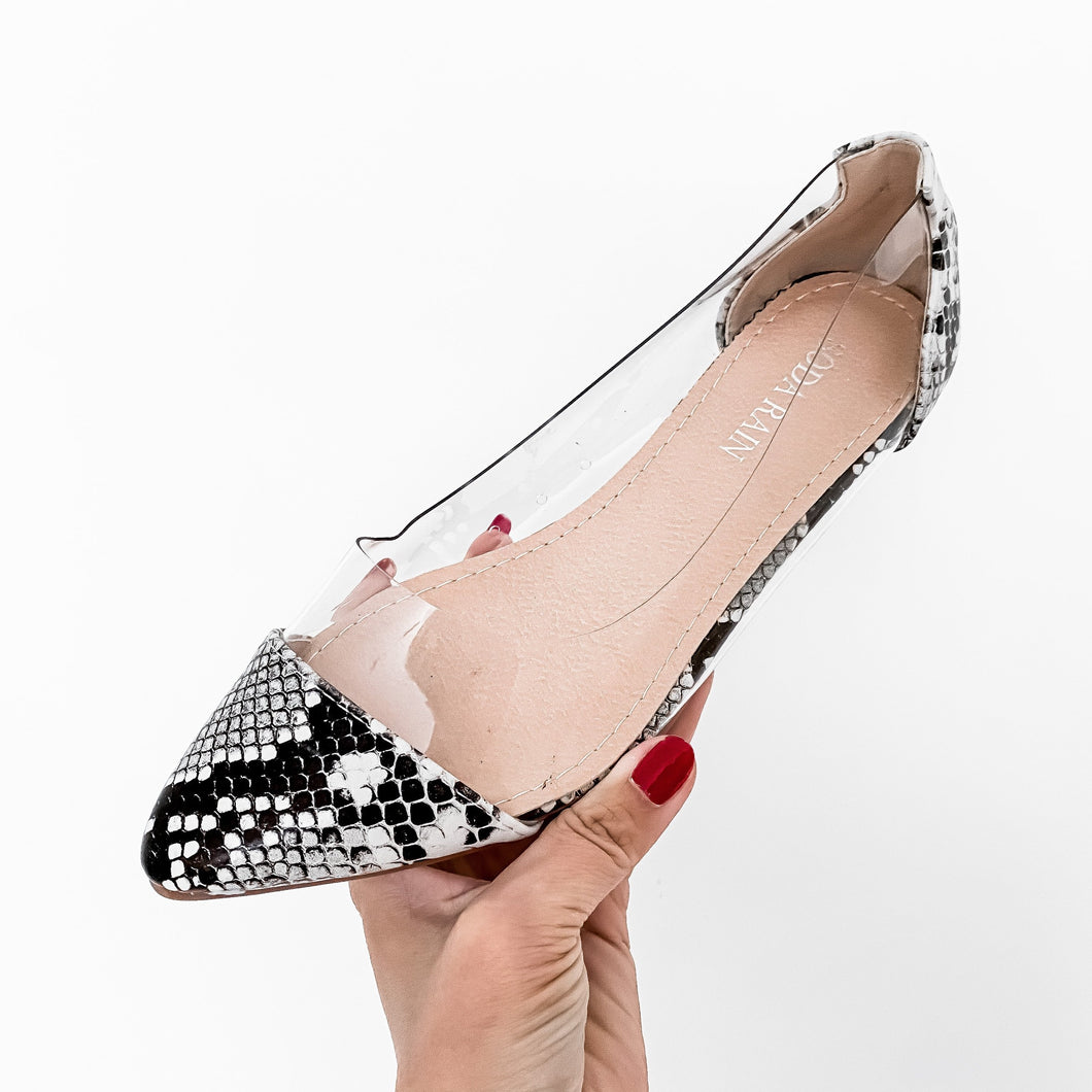 LADIES CLEAR SNAKE PUMPS