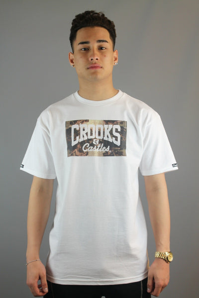 Crooks & Castles 11420708 Solidarity Mens Knit Crew Neck White T-Shirt - 4 Seasons Store