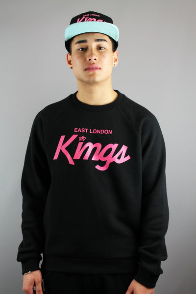 King Apparel ELK Script Long Sleeve Regular Fit Black Sweatshirt - 4 Seasons Store