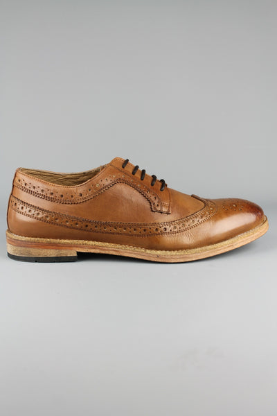 Frank Wright Bude Teak Leather Smart Casual Lace Up Brown Tan Brogue shoes - 4 Seasons Store